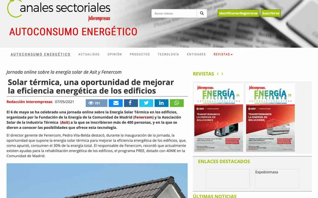Entrevista Interempresas – Solar térmica, una oportunidad de mejorar la eficiencia energética de los edificios
