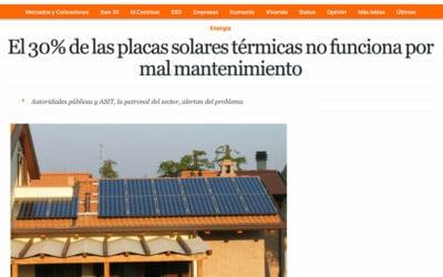 El Economista – El 30% de las placas solares térmicas no funciona por mal mantenimiento