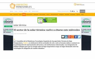 Entrevista en Energías Renovables – El sector de la solar térmica vuelve a citarse este miércoles