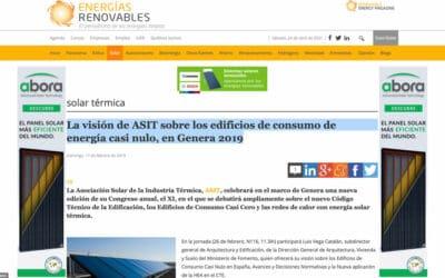 Energías Renovables – La visión de ASIT sobre los edificios de consumo de energía casi nulo, en Genera 2019