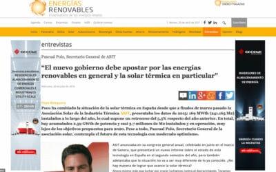 """Energías Renovables – """"El nuevo gobierno debe apostar por las energías renovables en general y la solar térmica en particular"""""""